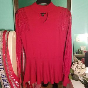 Red Lace Peplum Long Sleeve